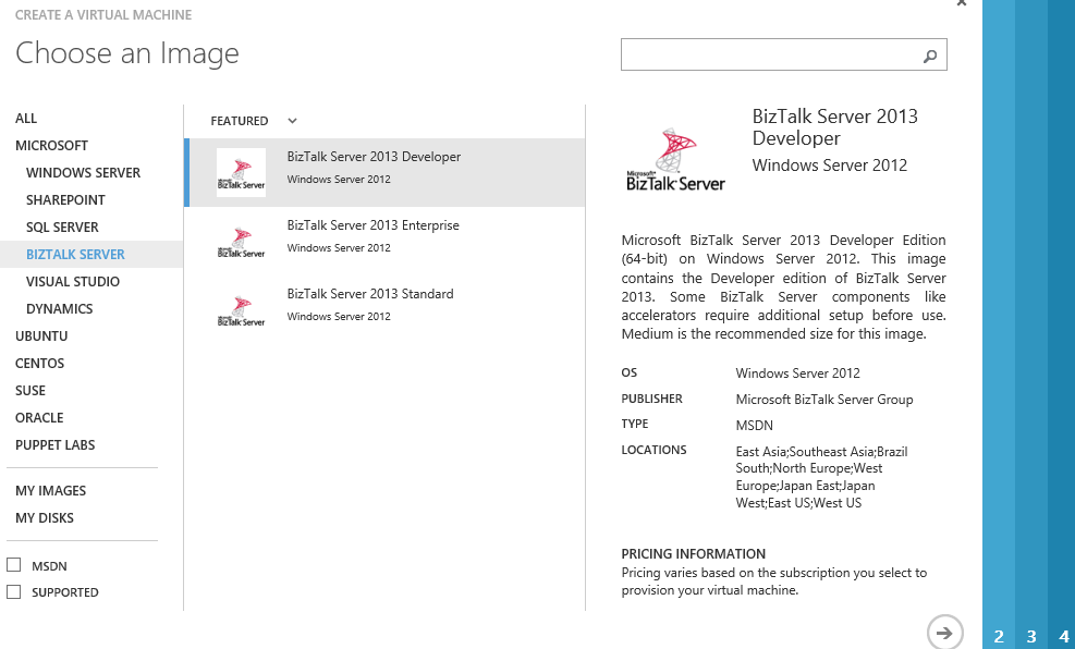 BizTalk 2013 Development Edition on Image Gallery for MSDN Users