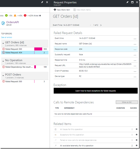 08 Azure Portal - Application Insights - Application map - 404 Errors