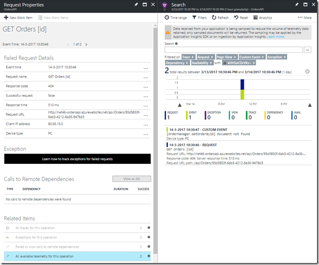 09 Azure Portal - Application Insights - Application map - 404 Errors - Detail