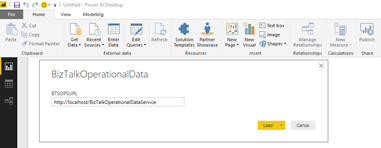BizTalk operational data: OperationalDataService Power BI Template OData URL