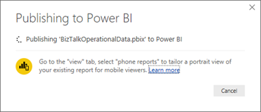 BizTalk operational data: OperationalDataService Power BI Template Publish starting
