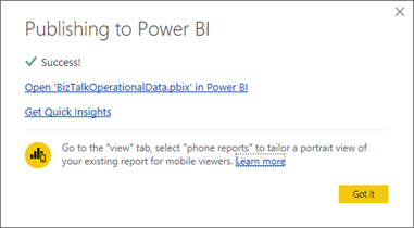 BizTalk operational data: OperationalDataService Power BI Template Publish Complete