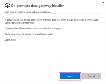 BizTalk operational data: Power BI Gateway Install Welcome