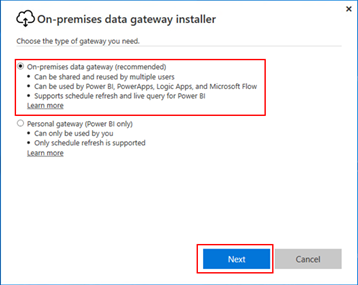 BizTalk operational data: Power BI Gateway Install type of gateway