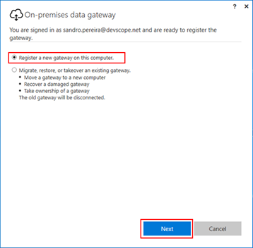 BizTalk operational data: Power BI Gateway Register new gateway