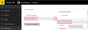 BizTalk operational data: Power BI manage gateways Add Data Source