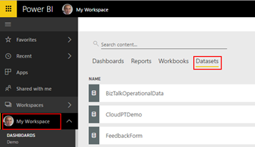 BizTalk operational data: Power BI BizTalkOperationalData dataset
