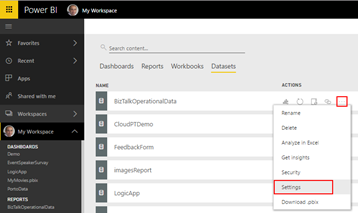 BizTalk operational data: Power BI BizTalkOperationalData dataset settings