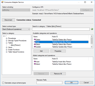 Consume Adapter Service tool SQL Server sample
