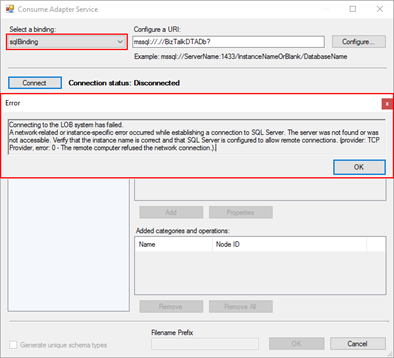 Connecting to the LOB system has failed: WCF-SQL Adapter