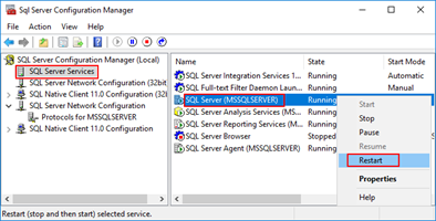 Connecting to the LOB system has failed: SQL Server 2016 restart