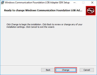 Consume Adapter Service: confirm change WCF LOB Adapter SDK installation