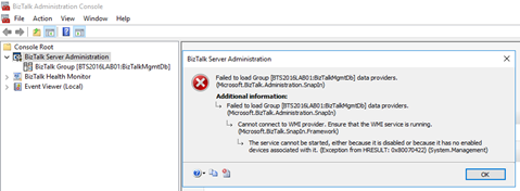BizTalk Server Administration Console cannot connect to WMI provider