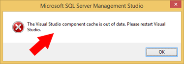 The Visual Studio component cache is out of date. Please restart Visual Studio.
