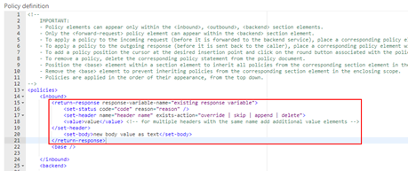 mock responses in API Management: return-response policy template