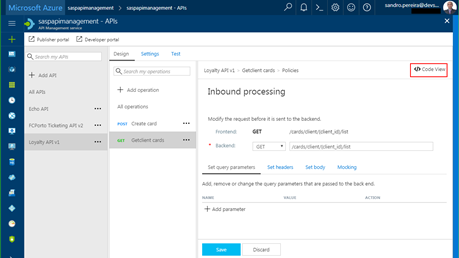 mock responses in API Management: Azure Portal create or edit operation policy code view