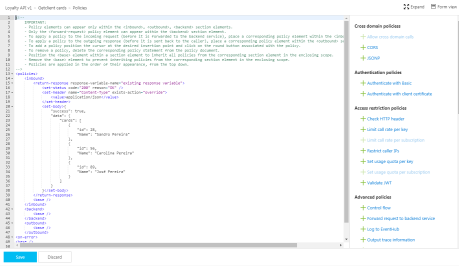 mock responses in API Management: Azure Portal create or edit operation policy code view result