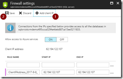 Add client IP to firewall settings