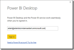 Sign in to PowerBI