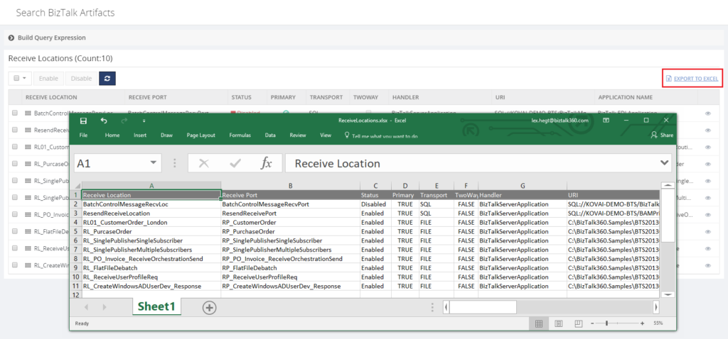BizTalk360 Search Artifacts - Save to Excel