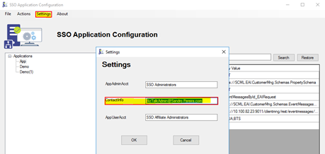 SSO Application Configuration: Settings