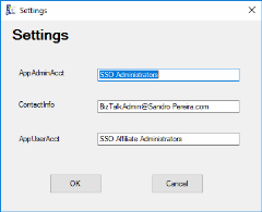 SSO Application Configuration Tool for BizTalk Server 2016: Settings