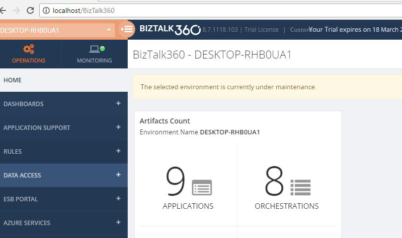 Stop alerts for maintenance BizTalk360 v8.7 release