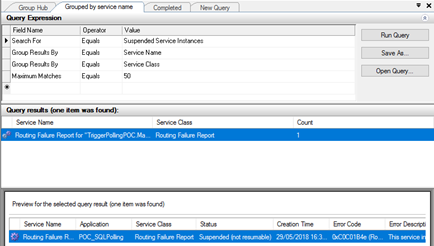 Terminate Suspended (not resumable): BizTalk Group by Service name Routing Failure Report