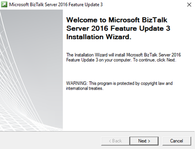 BizTalk Server 2016 Feature Pack 3: Welcome screen