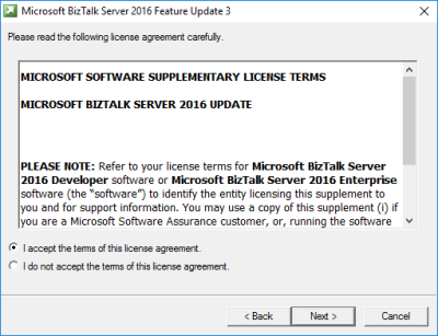 BizTalk Server 2016 Feature Pack 3: License Agreement Screen