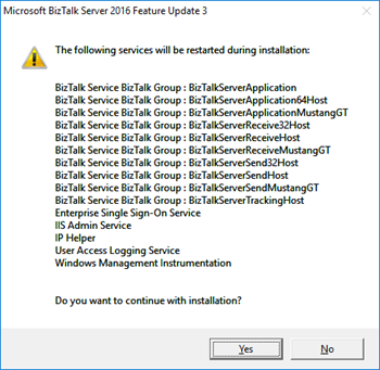 BizTalk Server 2016 Feature Pack 3: services to be restarted information screen