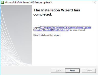 BizTalk Server 2016 Feature Pack 3: Complete screen