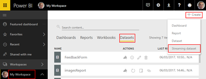 Processing Feedback Evaluations Paper: Create Power BI Streaming Dataset
