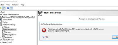 July 10, 2018 Microsoft Security Updates cause errors on the BizTalk Administration Console: An internal failure occurred for unknown reasons (WinMgmt)