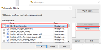 StoredProcedure does not exist: browse objects Stored Procedures