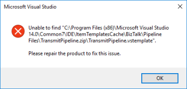 Unable to find transmitPipeline.vstemplate