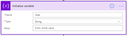 Microsoft Flow: markdown-formatted table - Add Variable configuration