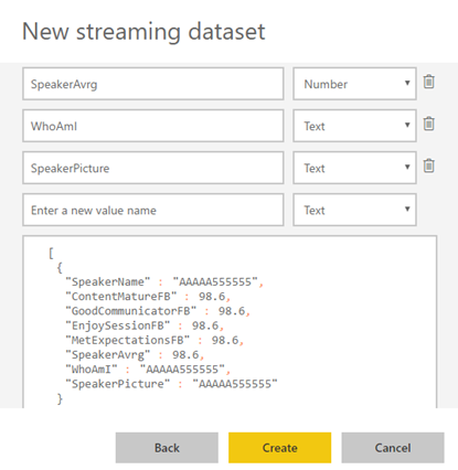 Processing Feedback Evaluations Paper: Power BI Streaming Dataset