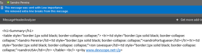 Microsoft Flow: markdown-formatted table - outlook email initial result