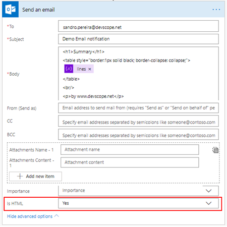 Microsoft Flow: markdown-formatted table - outlook advance options HTML