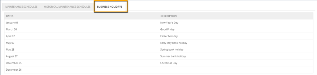 Stop_Alerts_for_Maintenance_during_business_Holidays_List_of_dates_configured_in_the_calendar_will_be_displayed