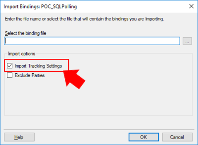 BizTalk Server Import Bindings Not Importing racking Data