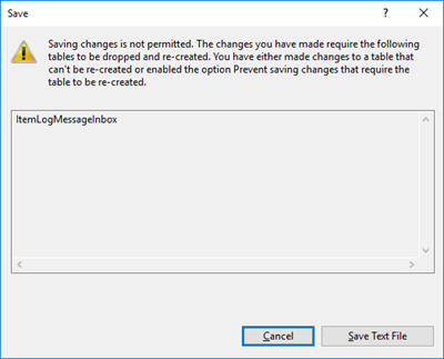 SQL Server Management Console: Saving changes is not permitted