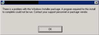 BizTalk Server Install MSI: There is a problem with this Windows Installer package