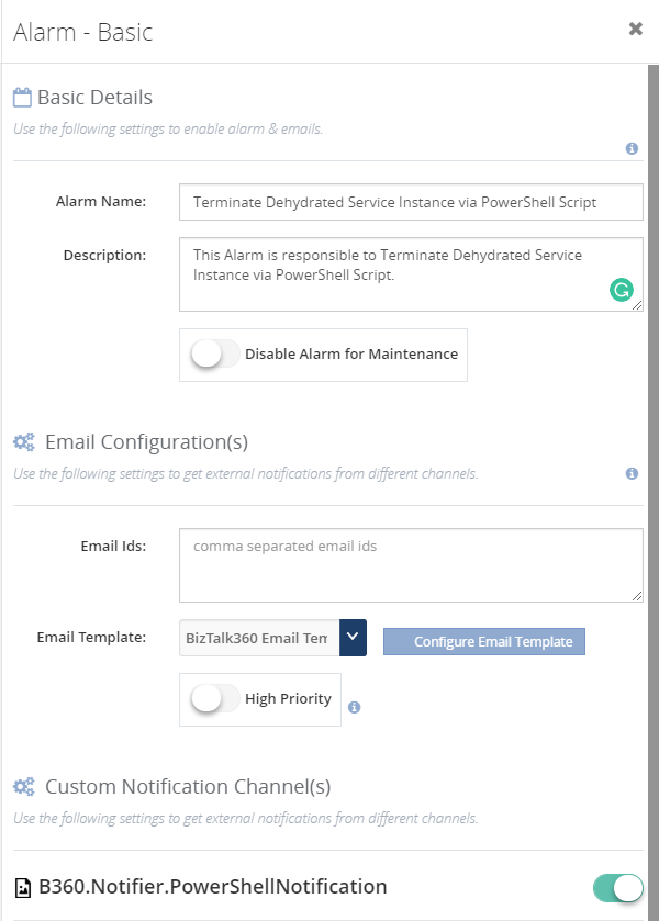 Terminating Dehydrated Service instances - Alarm Configuration with PowerShell Notification Channel