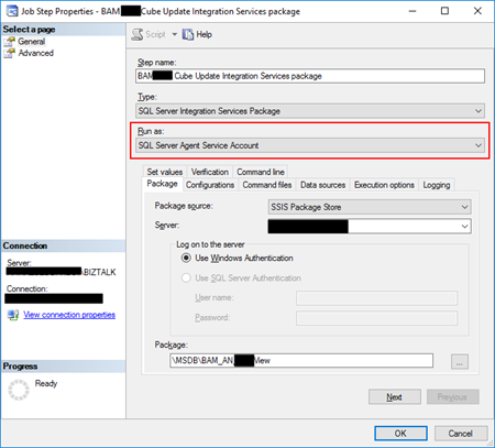BizTalk Server and SSIS: BAM Job default run as