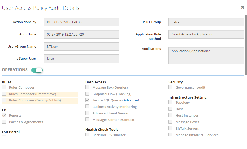 User Access Policy - Detail view Creation