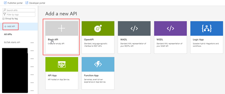 Azure API Management Add Blank API