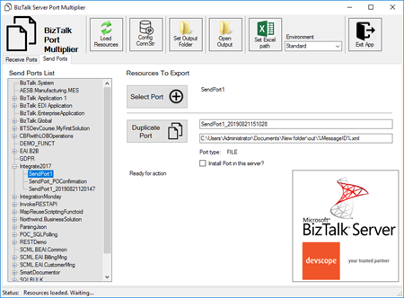Devscope BizTalk Port Multiplier tool Send Ports