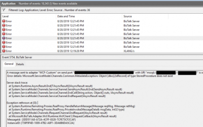 BizTalk WCF-SQL Error: Microsoft.ServiceModel.Channels.Common.MetadataException: Object [dbo].[ColumnName] of type StoredProcedure does not exist.